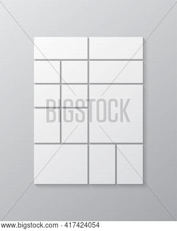 Vector Template Collage Thirteen Frames Or Photos