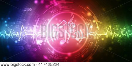 Abstract Colorful Music Background With Notes, Futuristic Abstract Glowing Music Wave Background