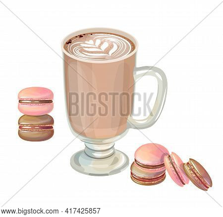 Coffee Cup With Macaroons Isolated On White Background. Hot Drink And Sweet For Restaurant And Cafe
