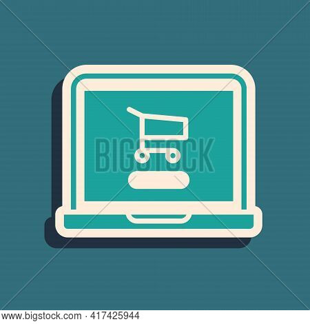 Green Shopping Cart On Screen Laptop Icon Isolated On Green Background. Concept E-commerce, E-busine