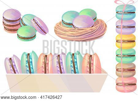Pastel Macaroons Packed In Box. Traditional French Dessert On White Background. Illustration For Foo