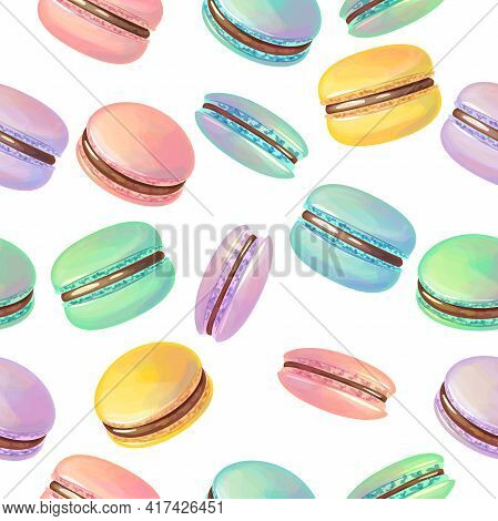 Seamless Pattern With Traditional French Desserts Macaroon. Endless Texture With Many-colored Sweet