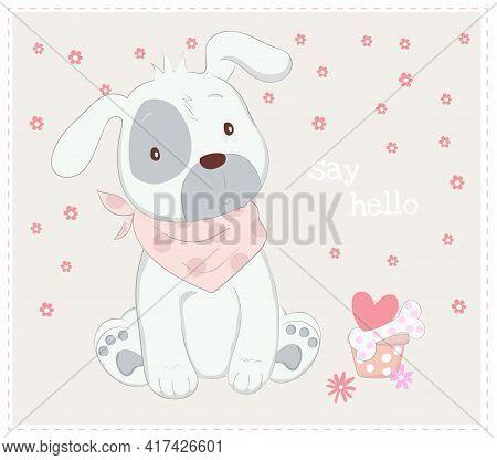 The Cute Baby Dog. Cartoon Sketch Animal Style