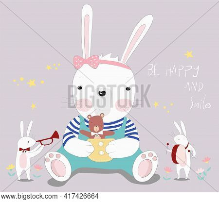 The Cute Baby Rabbit With Little Bear. Hand Drawn Cartoon Style