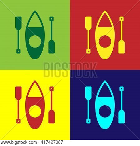 Pop Art Kayak And Paddle Icon Isolated On Color Background. Kayak And Canoe For Fishing And Tourism.