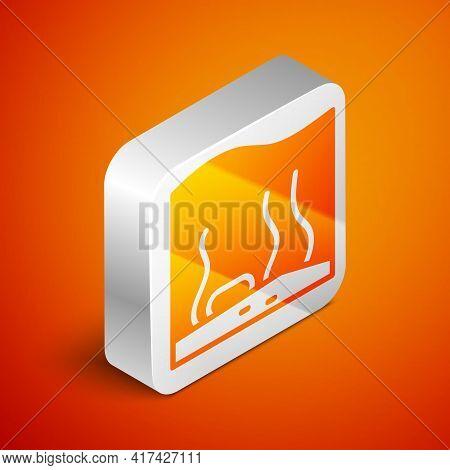 Isometric Aquarium Icon Isolated On Orange Background. Aquarium For Home And Pets. Silver Square But