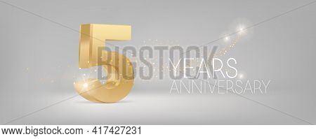 5 Years Anniversary Vector Icon, Logo. Isolated Graphic Design With 3d Number For 5th Anniversary