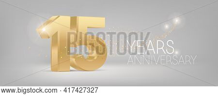 15 Years Anniversary Vector Icon, Logo. Isolated Graphic Design With 3d Number For 15th Anniversary