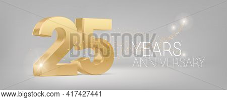 25 Years Anniversary Vector Icon, Logo. Isolated Graphic Design With 3d Number For 25th Anniversary