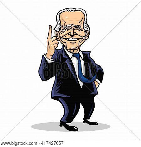 Joe Biden President Of Us United States Of America Cartoon Caricature Vector Drawing Illustration. W