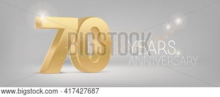 70 Years Anniversary Vector Icon, Logo. Isolated Graphic Design With 3d Number For 70th Anniversary
