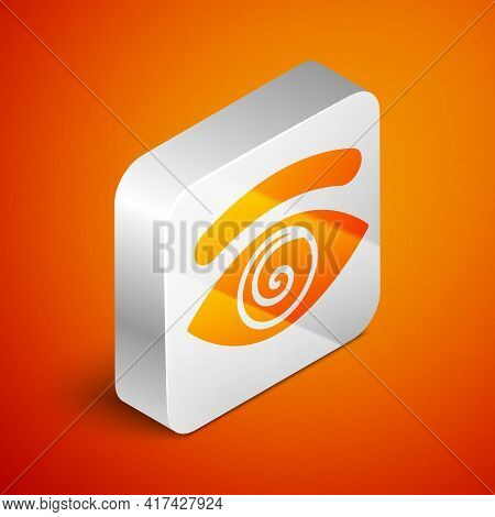 Isometric Hypnosis Icon Isolated On Orange Background. Human Eye With Spiral Hypnotic Iris. Silver S