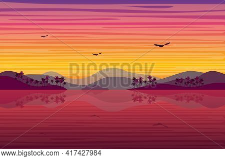 Sunset Over Tropical Island Landscape Background In Flat Style. Hills With Palm Trees, Sea Or Ocean