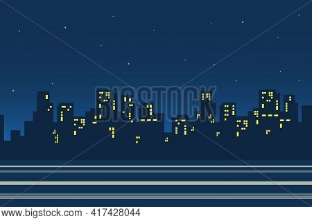 Silhouettes Of Skyscrapers In Night City Landscape Background In Flat Style. Cityscape Street With H