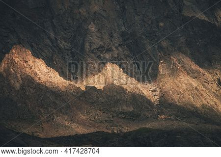 Scenic Mountain Landscape With Rocks In Golden Sunlight. Nature Background Of Rocky Mountain Wall Wi