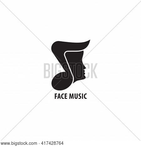 Quaver Or Eight Note With Face Vector Illustration. Face Music Logo Design Template Isolated On Whit