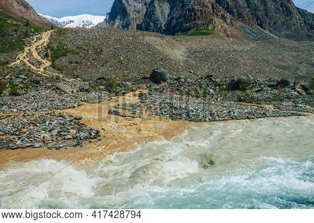Multicolor Mountain Landscape With Confluence Of Three Rivers. Beautiful Vivid Background With Three