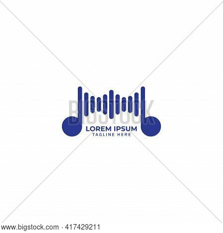 Rounded Musical Note With Spectrum Bar Vector Illustration. Music Visual Logo Concept Isolated On Wh