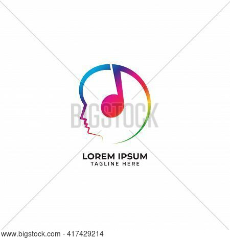 Head With Musical Note Vector Illustration. Listen Music With Headpone Logo Concept. Rainbow Multico