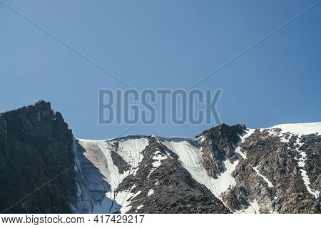 Minimal Mountain Landscape With Beautiful Mountain Wall With Glacier And Snow Cornice On Top. Minima