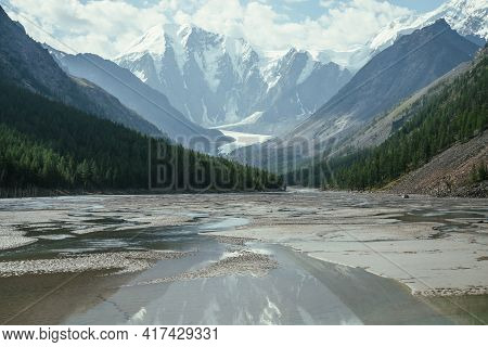 Scenic Alpine Landscape With Beautiful Shallow Mountain Lake With Streams In Highland Valley From Sn