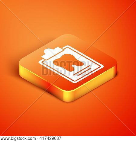 Isometric Clipboard With Dental Card Or Patient Medical Records Icon Isolated On Orange Background.
