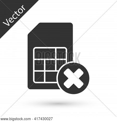 Grey Sim Card Rejected Icon Isolated On White Background. Mobile Cellular Phone Sim Card Chip. Mobil