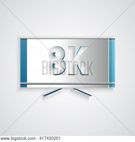 Paper Cut Screen Tv With 8k Ultra Hd Video Technology Icon Isolated On Grey Background. Paper Art St