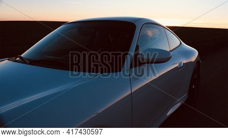 Car Supercar View From The Side. High Quality Photo
