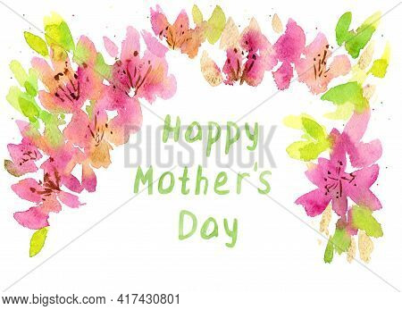 Mothers Day Greeting Card. Frame With Text. Greeting Card With Cherry Flowers. Place For Your Text.