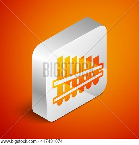 Isometric Pan Flute Icon Isolated On Orange Background. Traditional Peruvian Musical Instrument. Zam