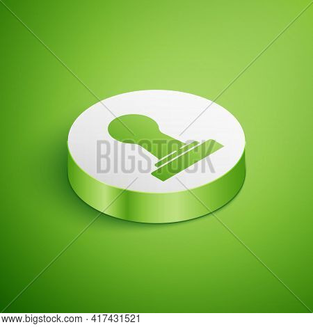 Isometric Coffee Tamper Icon Isolated On Green Background. White Circle Button. Vector
