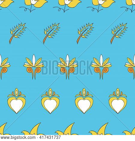 Vector Bright Blue Background Brittany Celtic, Breton Trational Folklore Symbols Seamless Pattern. S