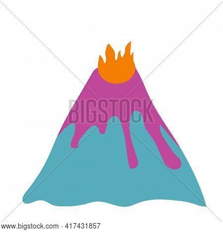 Nursery Vector Illustration. Volcano. Volcano Erruption. Flat.