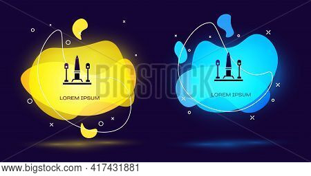 Black Place De La Concorde In Paris, France Icon Isolated On Black Background. Abstract Banner With