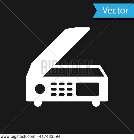 White Scanner Icon Isolated On Black Background. Scan Document, Paper Copy, Print Office Scanner. Ve