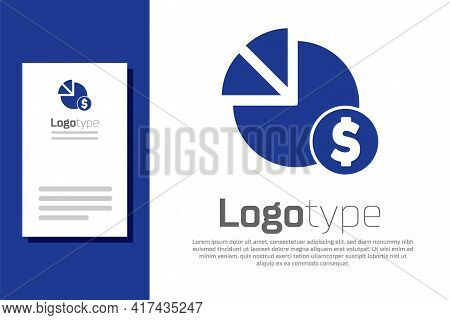 Blue Pie Chart Infographic And Dollar Symbol Icon Isolated On White Background. Diagram Chart Sign.
