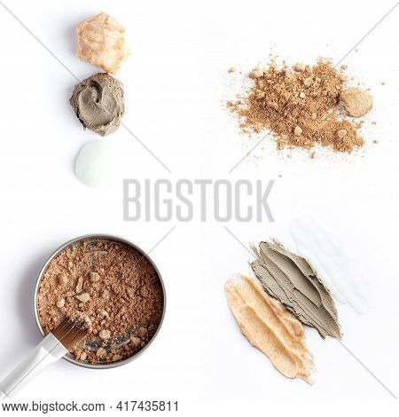 Collage With Cosmetics, Light And Dark Brown Face Shadows, Eye Shadow Brush And Different Body Scrub
