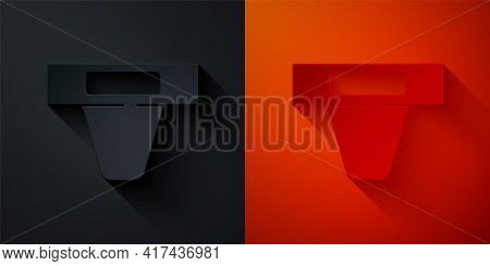 Paper Cut Groin Guard For Martial Arts Icon Isolated On Black And Red Background. Paper Art Style. V