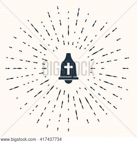 Grey Church Bell Icon Isolated On Beige Background. Alarm Symbol, Service Bell, Handbell Sign, Notif