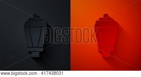 Paper Cut Garden Light Lamp Icon Isolated On Black And Red Background. Solar Powered Lamp. Lantern.