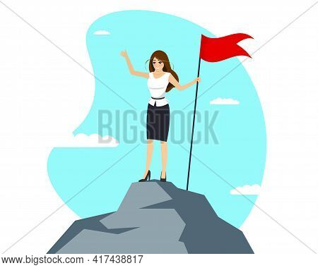 Successful Businesswoman With Red Flag On Mountain Peak. Business Woman Climbing Up On Top Career La