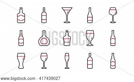 Bottles Line Icons. Beer Drinks, Wine Glass And Whiskey Bottle. Champagne Linear Icon Set. Linear Se