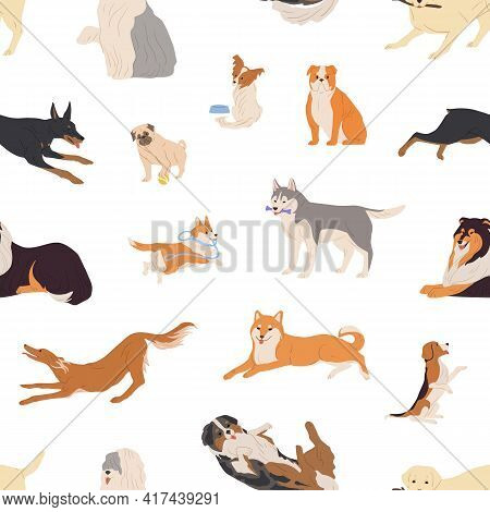 Seamless Pattern With Different Dogs And Puppies On White Background. Endless Repeatable Texture Wit