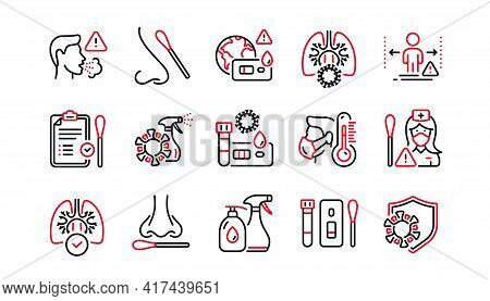 Covid Test Line Icons. Nasal Swab And Blood Testing. Social Distance, Hand Sanitizer, Rapid Antigen
