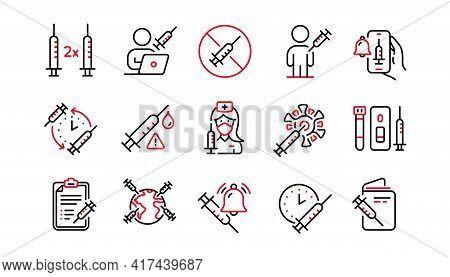 Vaccine Line Icons. Corona Jab, Medical Syringe, Vaccination Passport Icons. Covid Vaccine, Human Ja