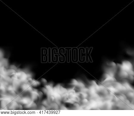 Smoke Background. White Clouds Backdrop, Fog Effect Or Magic Mist, Cloudy Sky Or Smog In City Panora