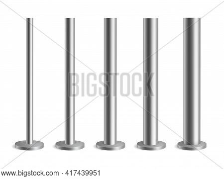 Steel Poles. Metal Pillars For Urban Advertising Banners, Streetlight And Billboard, Silver Flag Hol