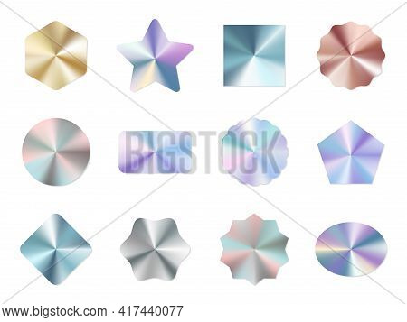 Holographic Labels. Round Gradient Metal Certification Glitter Stickers, Shine Iridescent Circle And