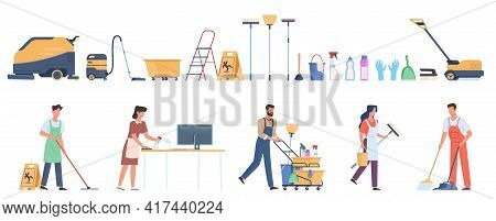 Cleaning Equipment. Professional Household Services Employees. Office And Industrial Premises Hygien
